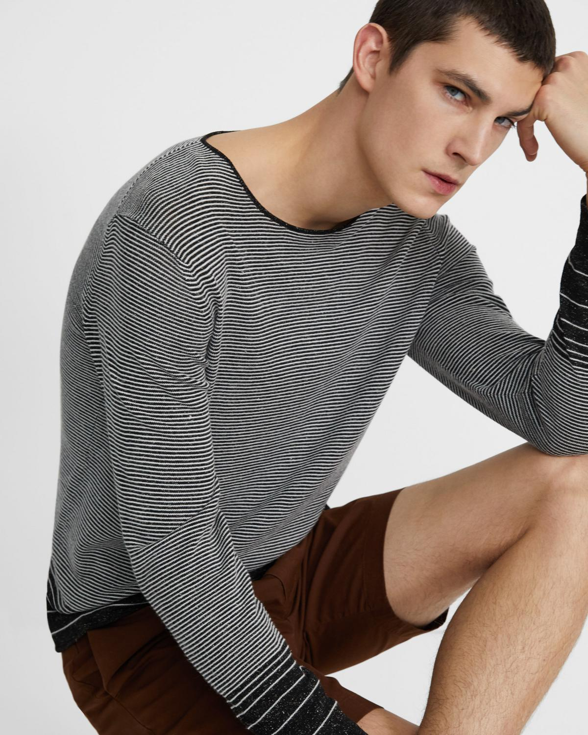 Crewneck Sweater in Striped Linen Blend