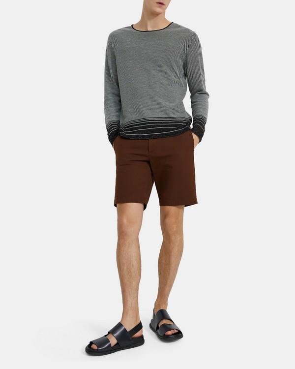 띠어리 맨 스웨터 Theory Crewneck Sweater in Striped Linen Blend,BLACK/WHITE