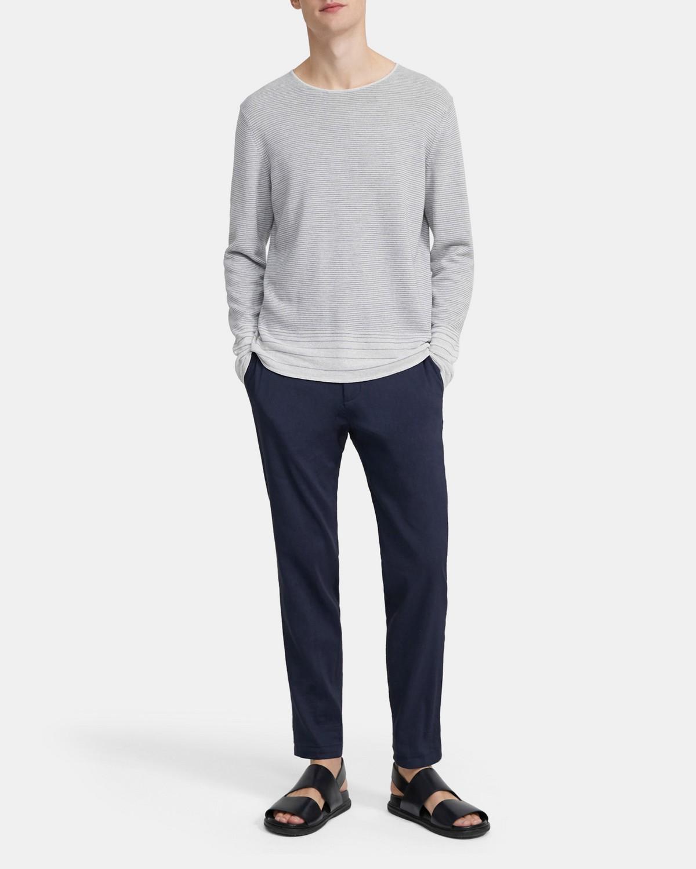 띠어리 맨 스웨터 Theory Crewneck Sweater in Striped Linen Blend,BIRCH/GREY HTR