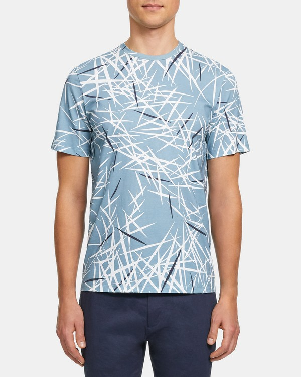 띠어리 맨 반팔티 Theory Clean Tee in Tropic Print Jersey,POSEIDON MULTI