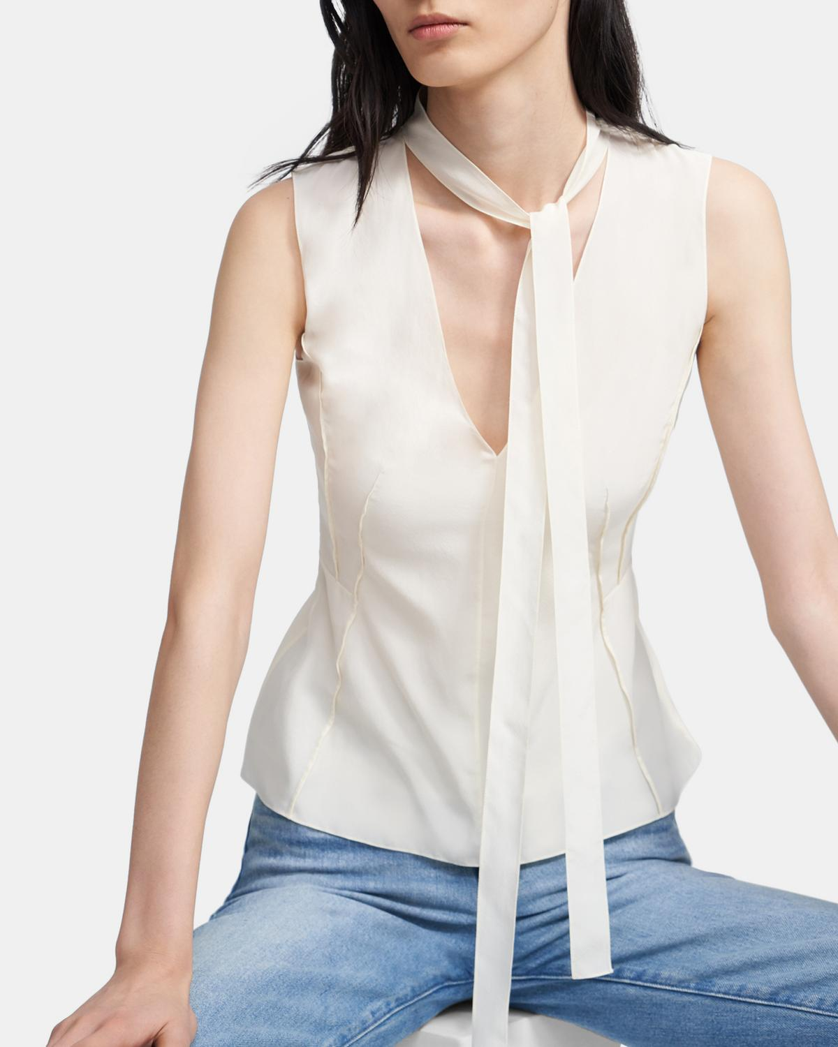 Seam Tie Top in Sandwashed Silk