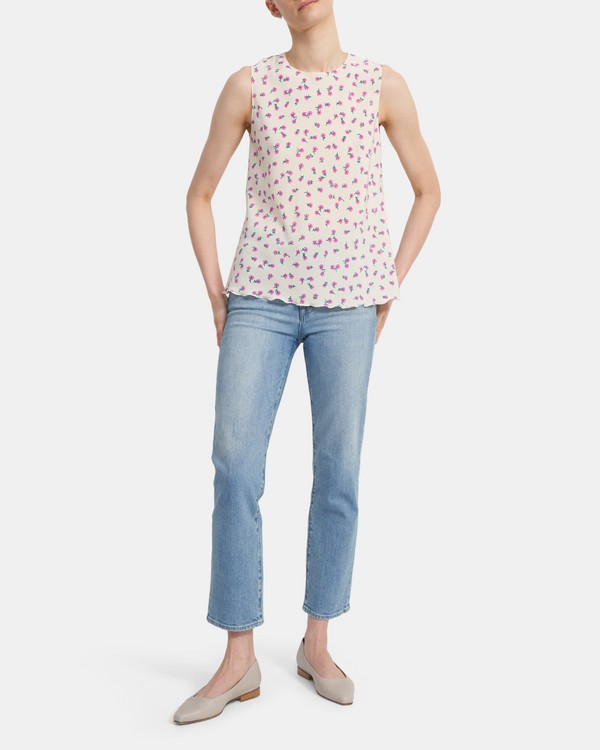Ruffled Shell Top in Floral Print Sandwashed Silk