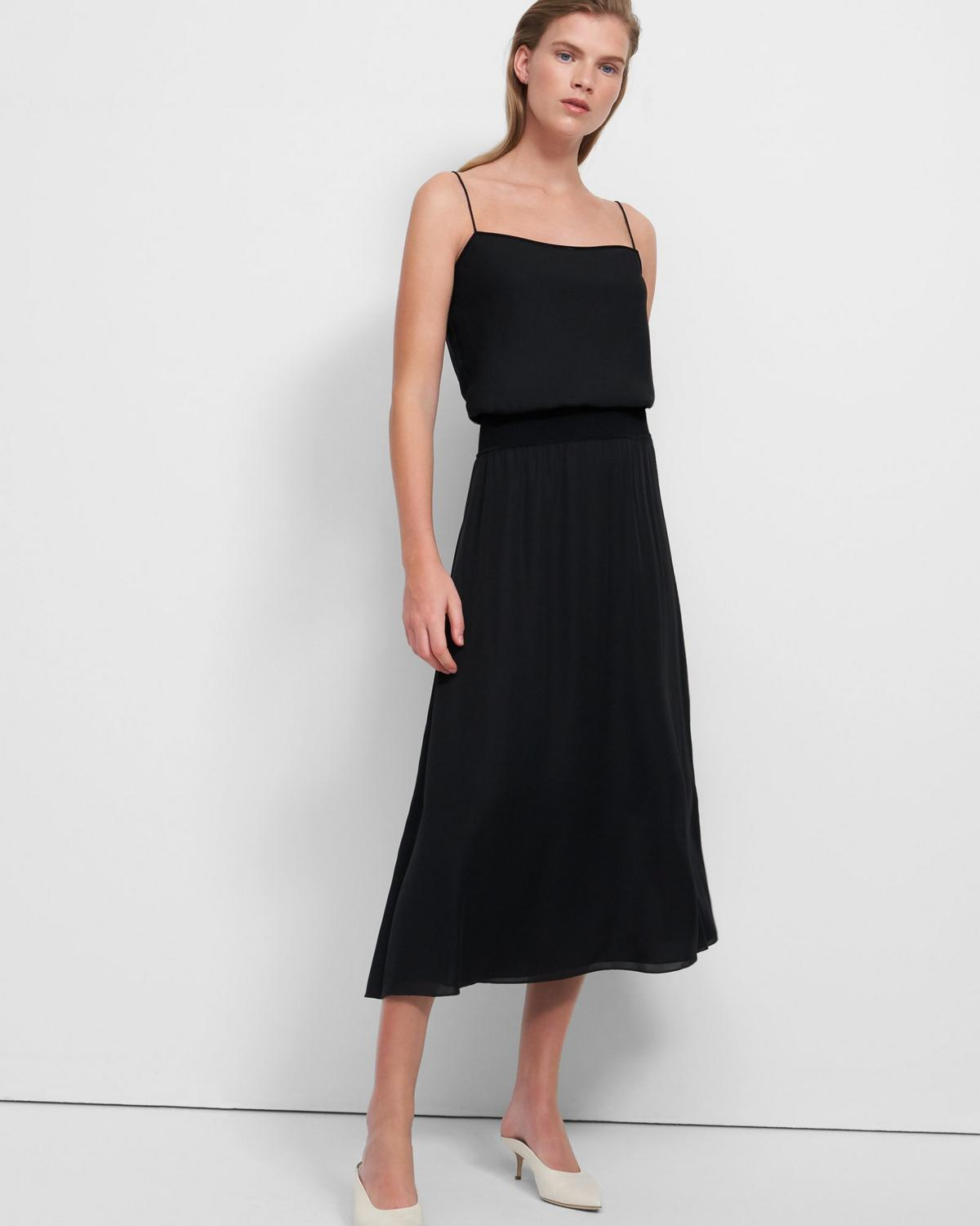 Ribbed Waistband Dress in Silk