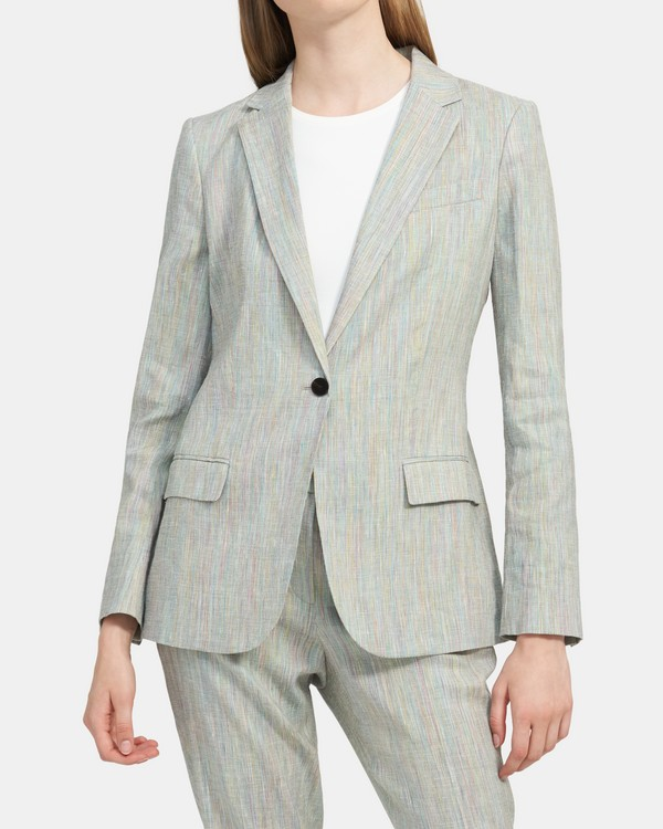 Staple Blazer in Multicolored Stretch Linen