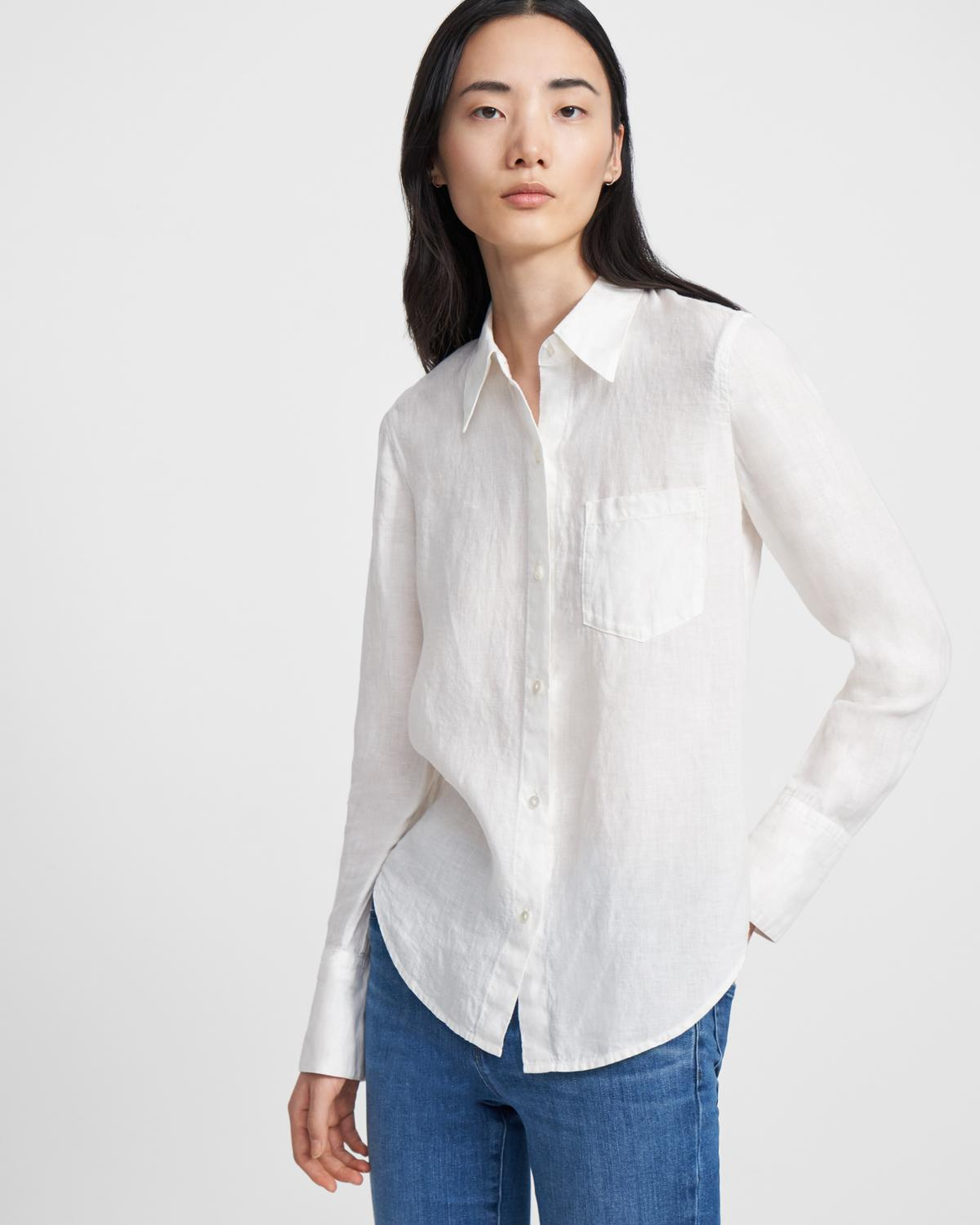 Slim Button-Down Shirt in Spring Linen