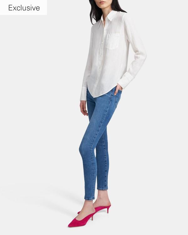 띠어리 슬림 버튼다운 셔츠 - 화이트 (100% 린넨) Theory Slim Button-Down Shirt in Spring Linen K0403501