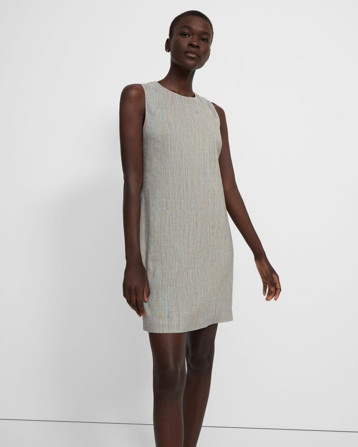 Easy Shift Dress in Multicolored Stretch Linen