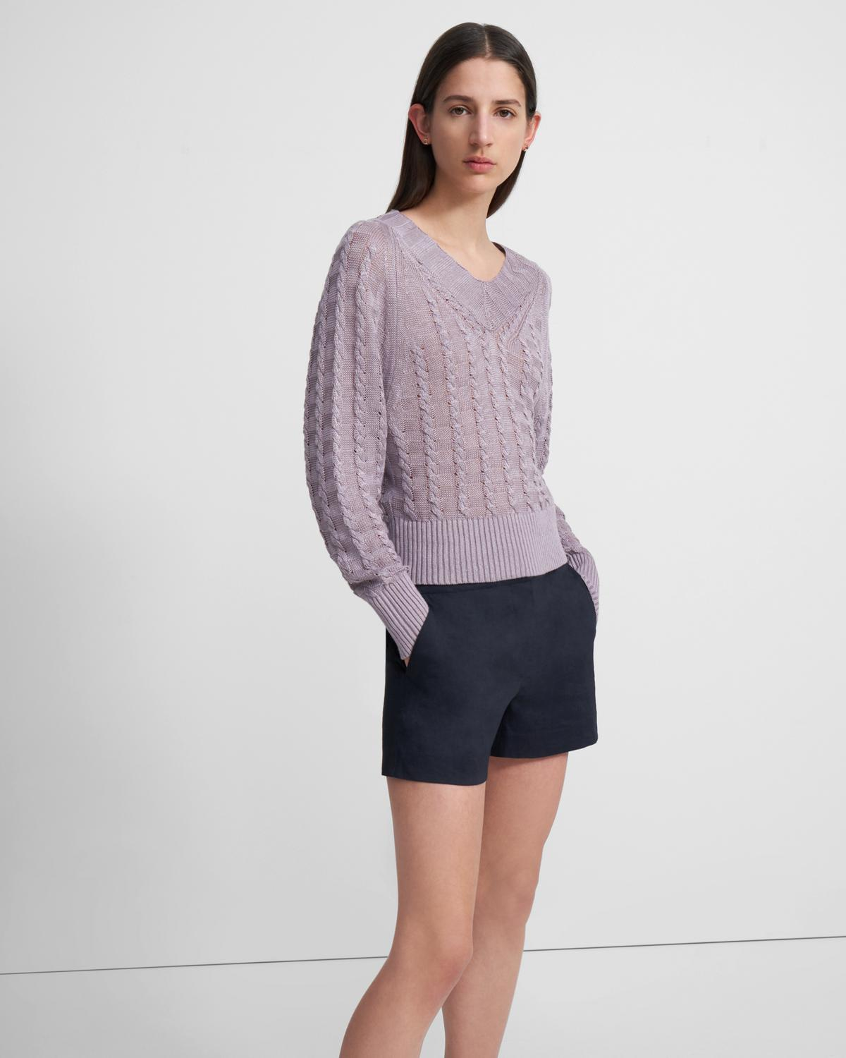 Textured V-Neck Sweater in Linen-Viscose
