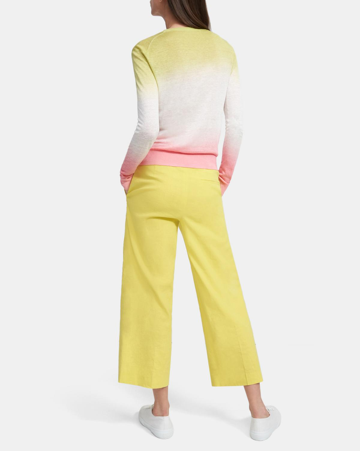 Dual Ombré Crewneck Sweater in Linen-Viscose