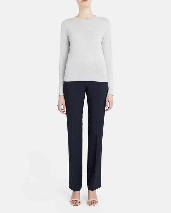 띠어리 울 블랜드 스웨터 Theory Wool-Blend Crewneck Sweater,LIGHT GREY HEATHER