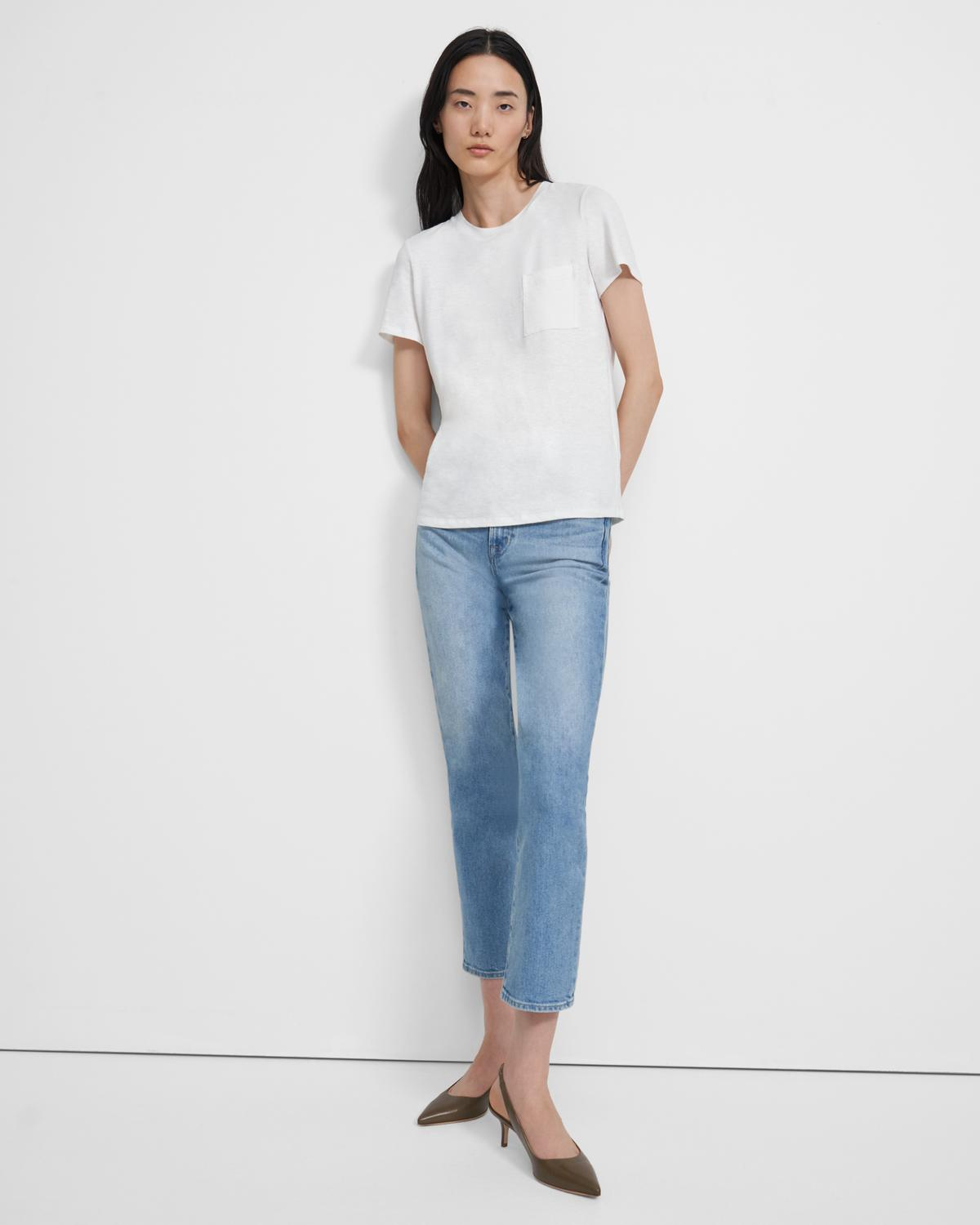 Easy Pocket Tee in Flex Linen