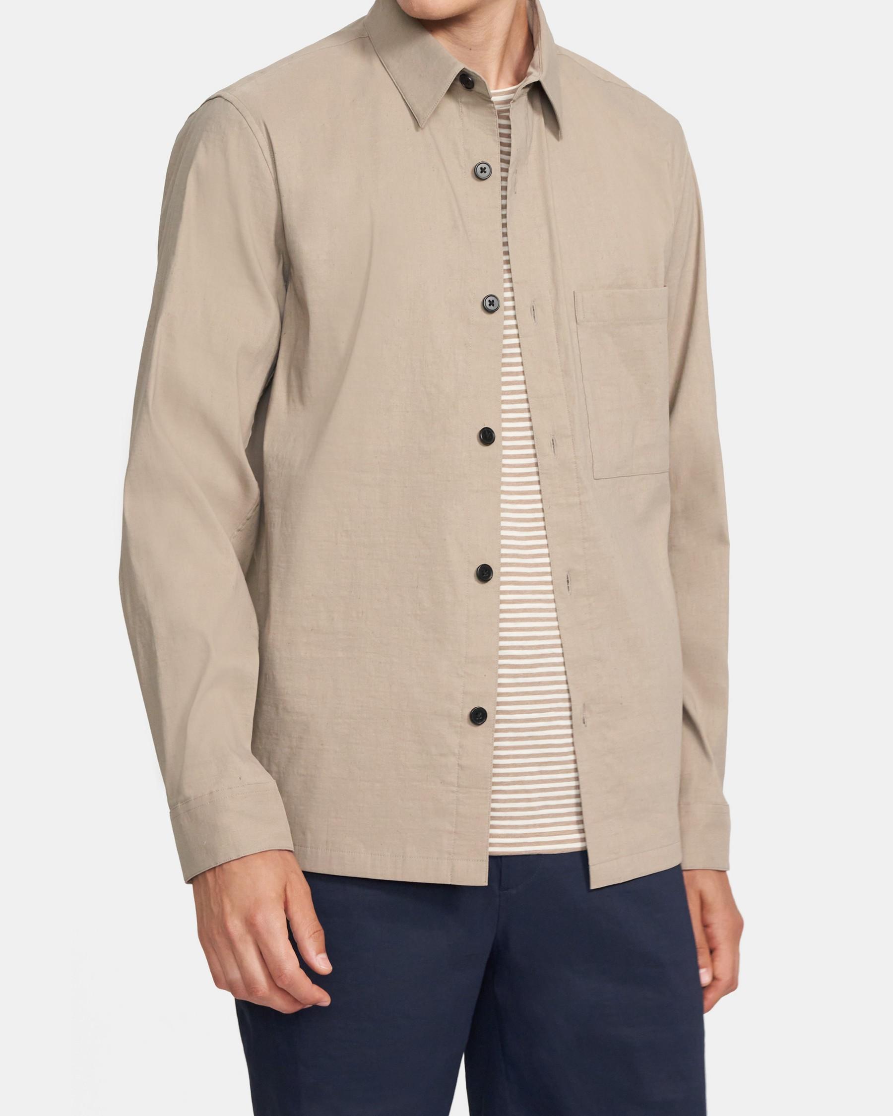 Theory Kian Shirt Jacket In Tech Linen