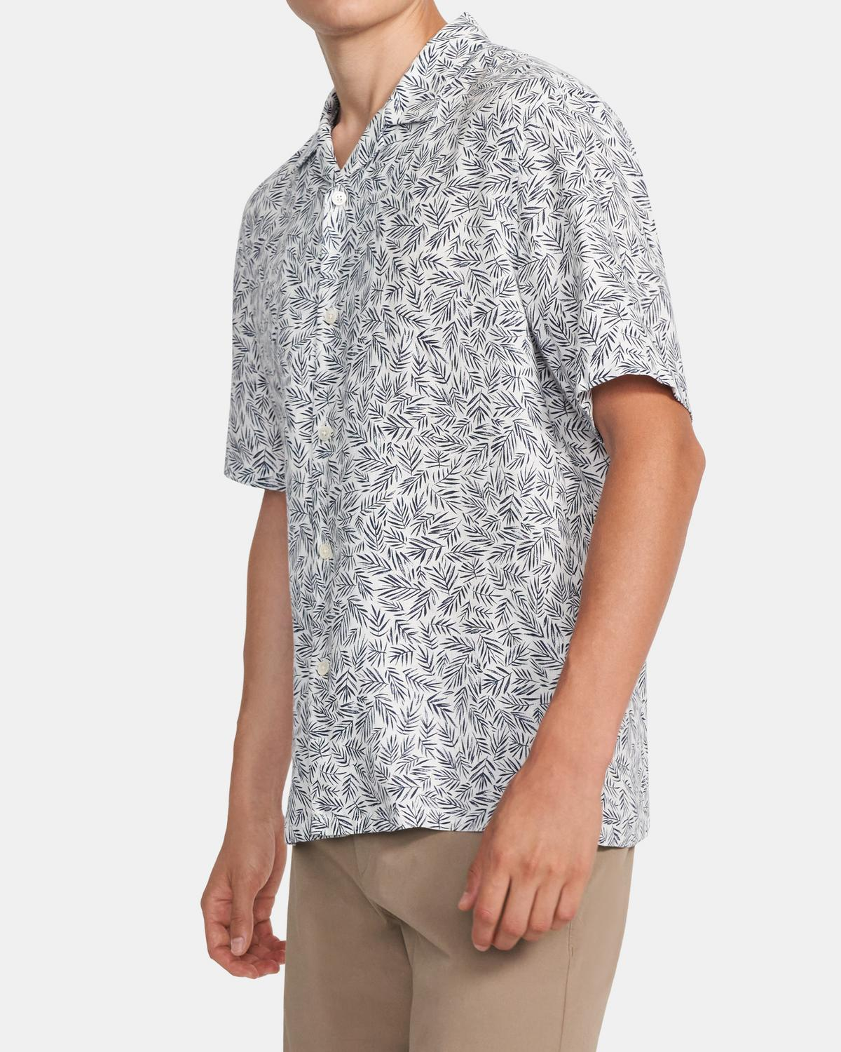 Daze Short-Sleeve Shirt in Palm Print Linen