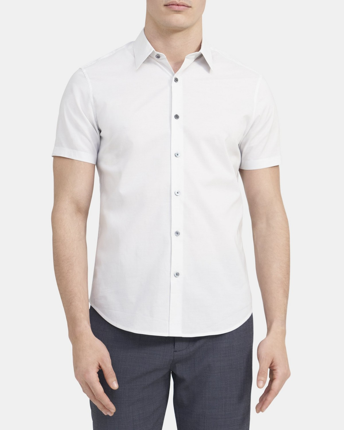 Tailored Short-Sleeve Shirt in Stretch Cotton