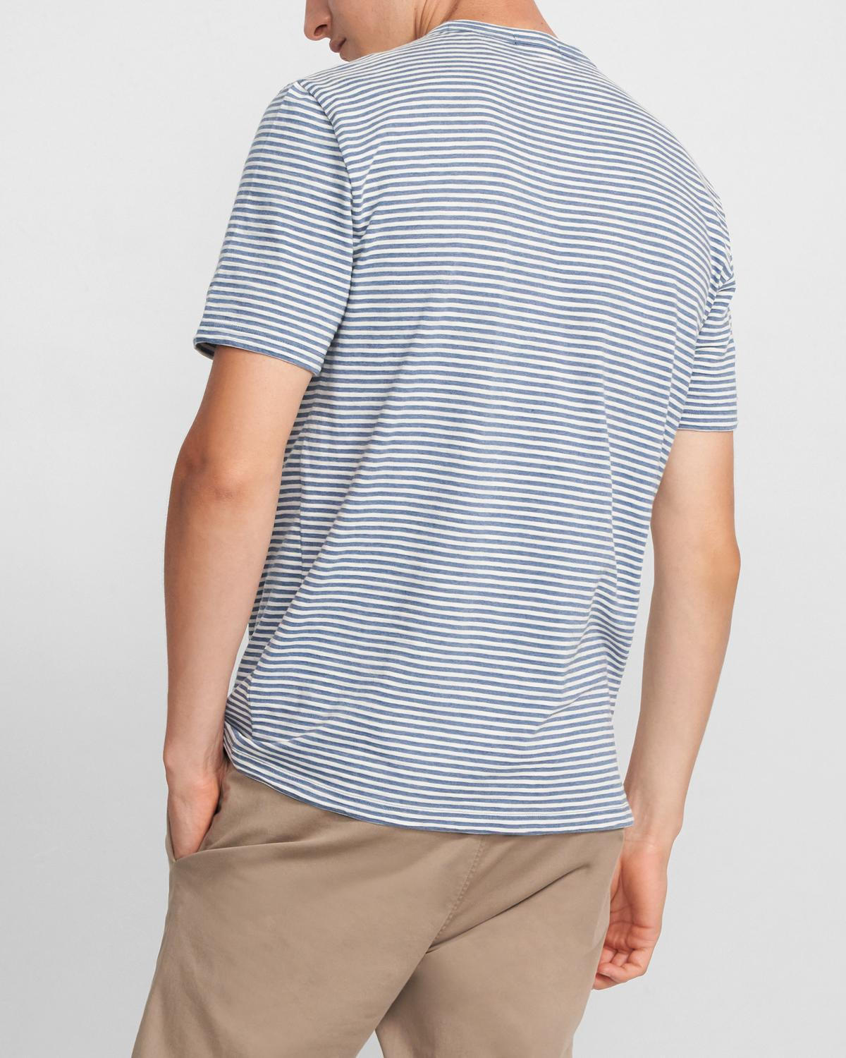 Crewneck Tee in Striped Cotton Blend