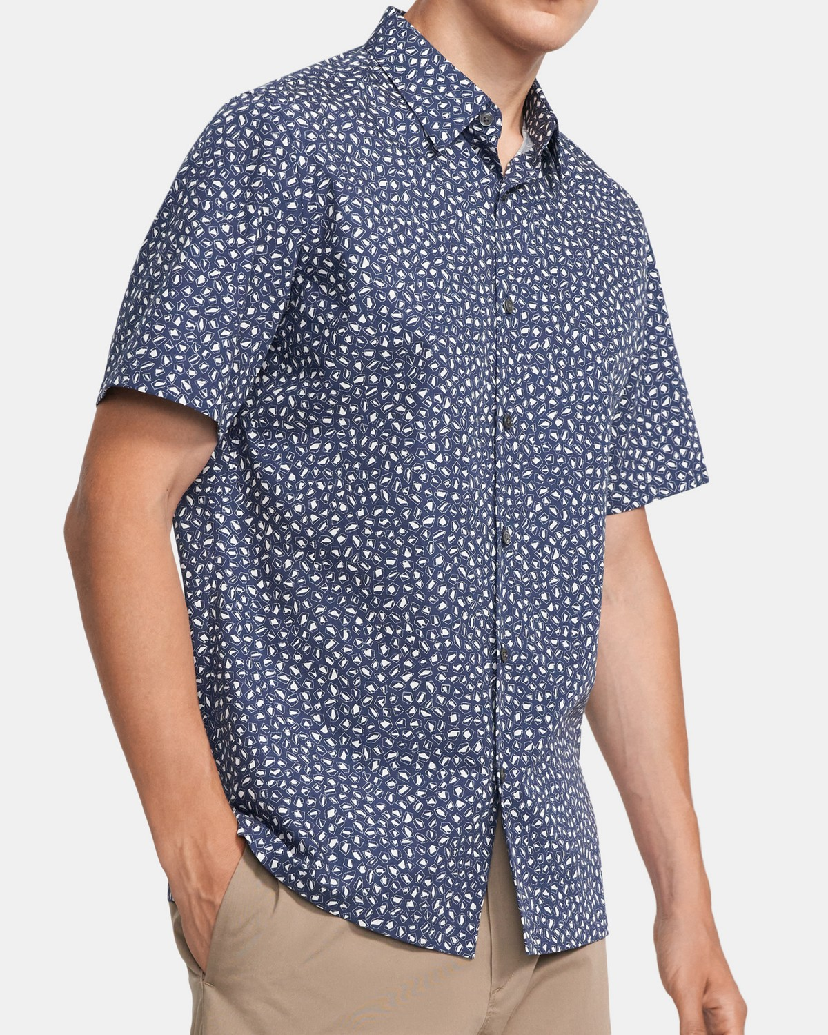 Standard-Fit Short-Sleeve Shirt In Stone Print