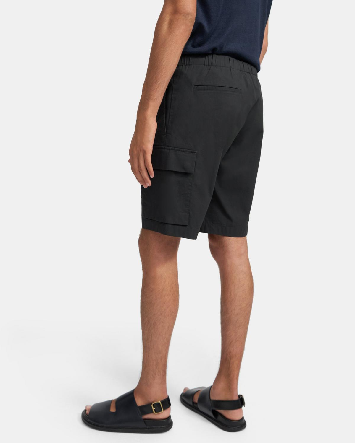 Drawstring Cargo Short in Slub Poplin