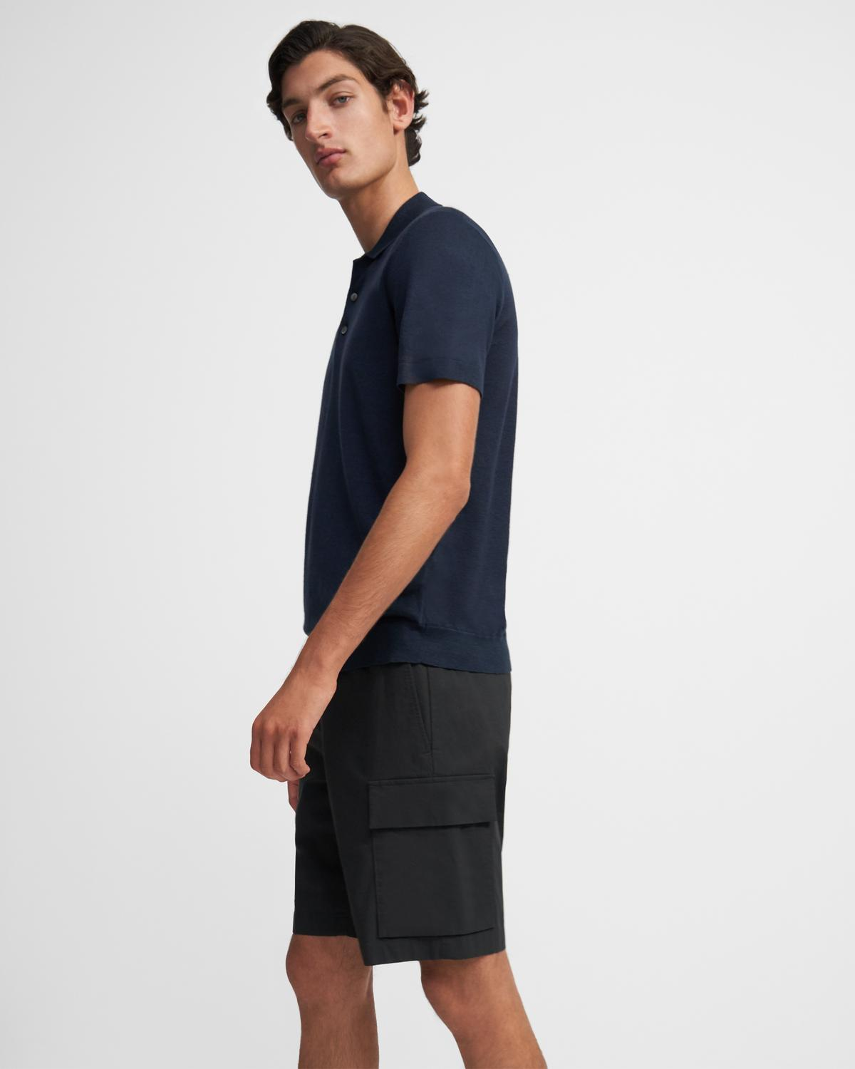 Basic Polo Shirt in Linen Blend