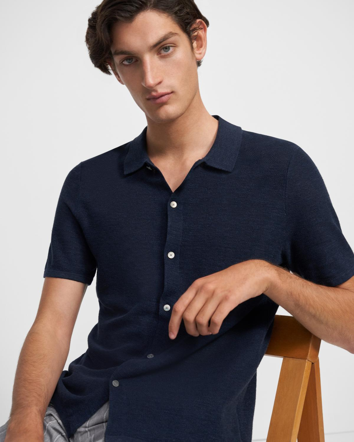Short-Sleeve Shirt in Linen Mix