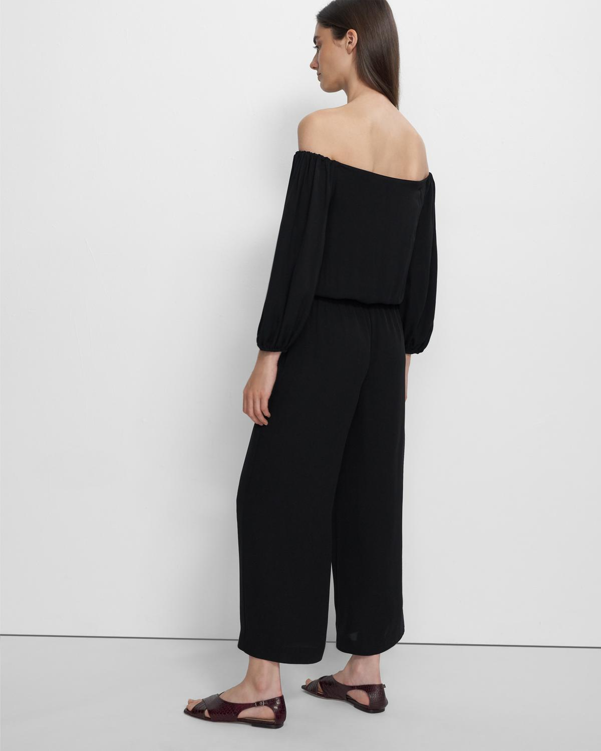 Off-the-Shoulder Jumpsuit in Silk Georgette