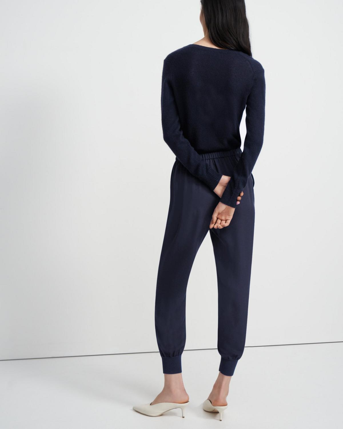 Ribbed Cuff Jogger In Silk