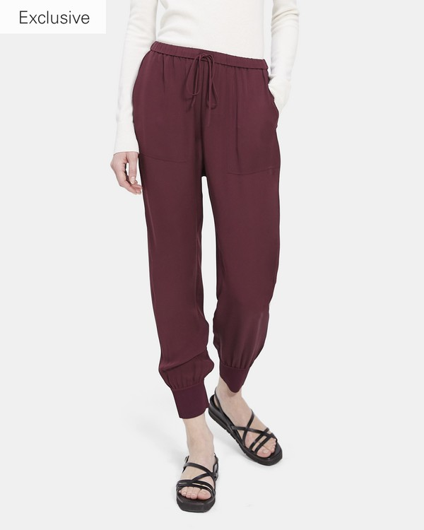띠어리 Theory Ribbed Cuff Jogger In Silk,BORDEAUX