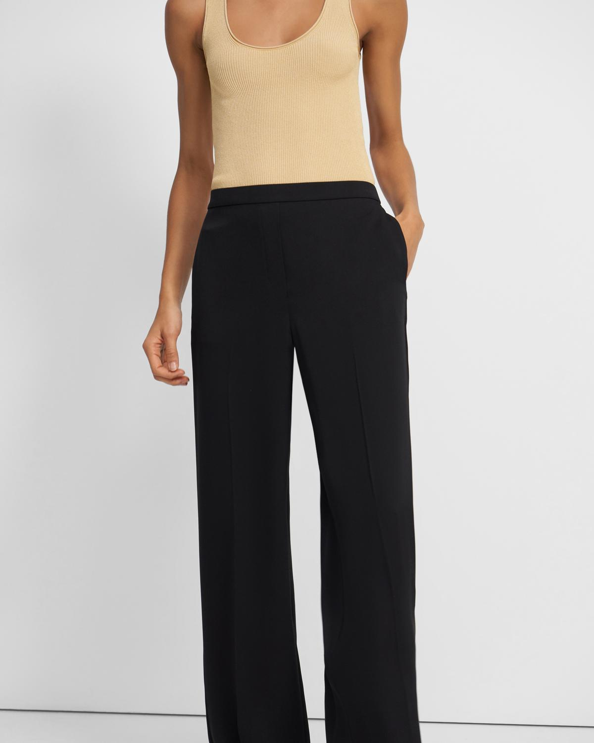Wide Leg Pull-On Pant in Silk Georgette