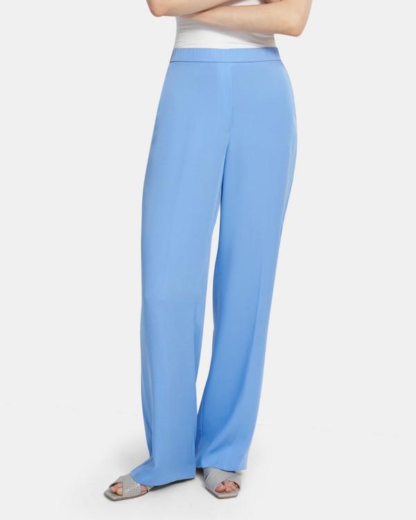 띠어리 풀온 팬츠 Theory Wide Leg Pull-On Pant in Silk Georgette,LIGHT MARINE