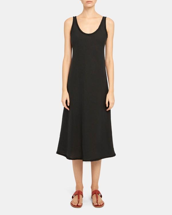 띠어리 스쿱넥 탱크 원피스, 스프링 린넨 - 블랙 Theory Scoop Tank Dress in Spring Linen K0503609