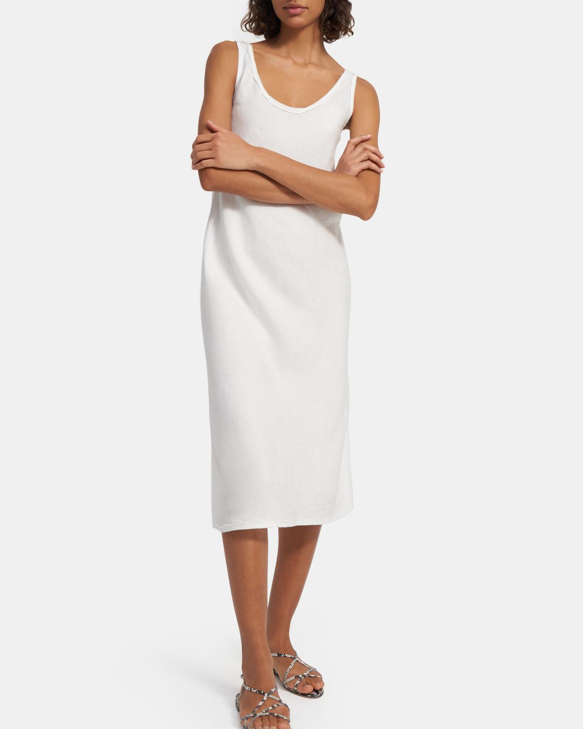 Scoop Tank Dress in Spring Linen