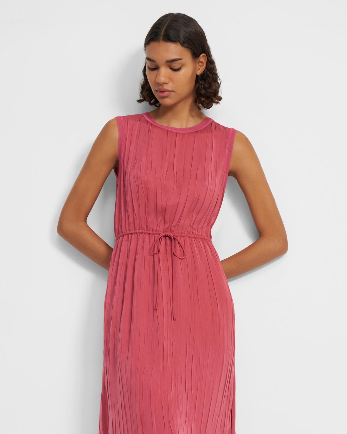 Crinkle Pleated Dress in Satin
