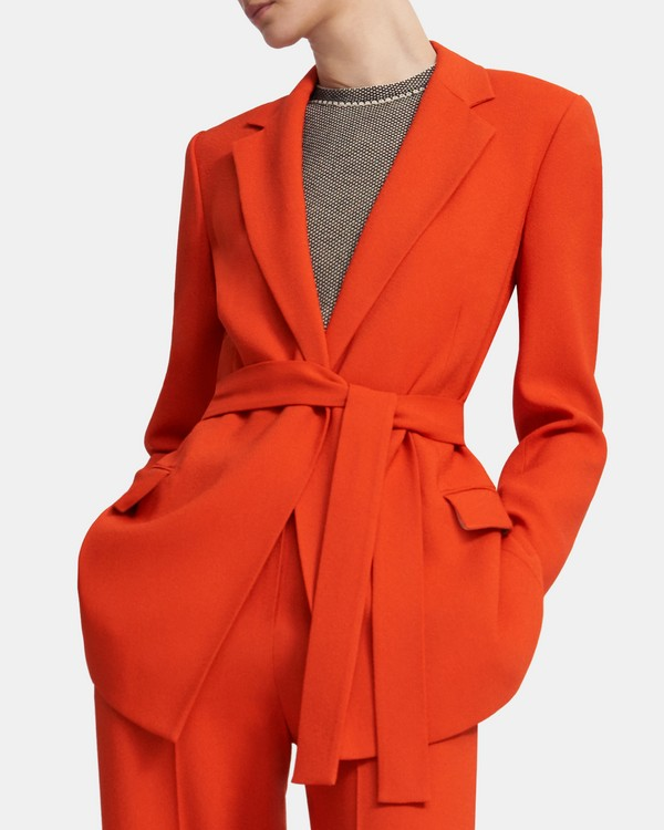 띠어리 Theory Belted Blazer in Eco Rosina Crepe,FIRE OPAL
