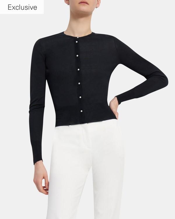 띠어리 Theory Cardigan in Silk-Cotton,BLACK