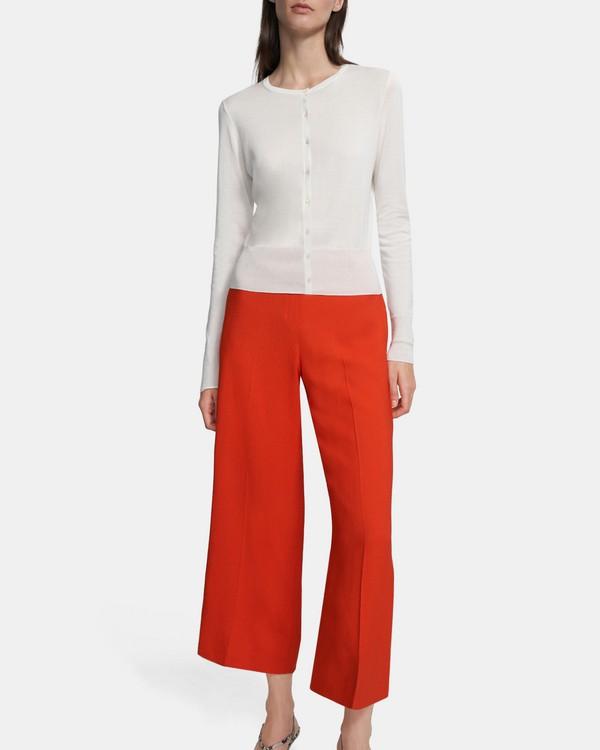 띠어리 Theory Cardigan in Silk-Cotton,IVORY