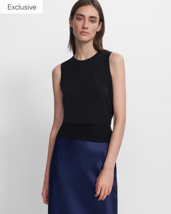 띠어리 Theory Shell Top in Silk-Cotton,BLACK