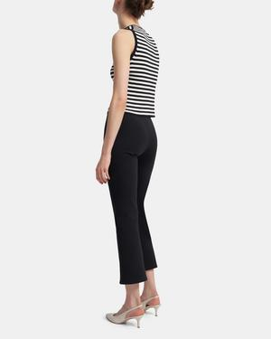 Ribbed Shell Top in Striped Stretch Cotton
