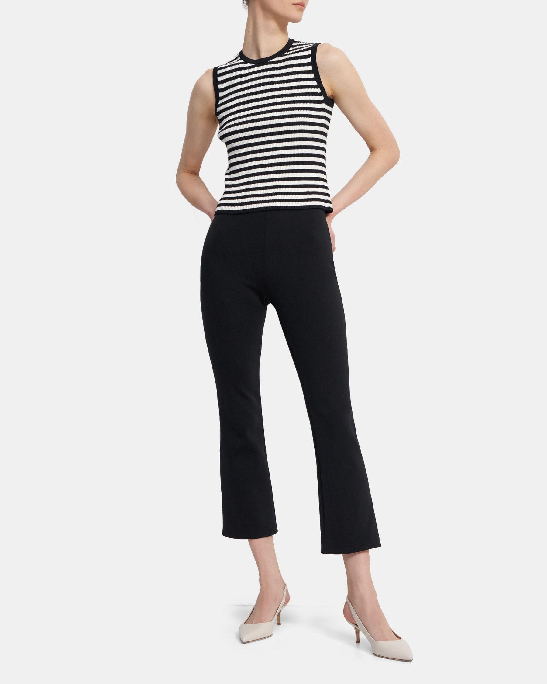 Theory Ribbed Shell Top in Striped Stretch Cotton