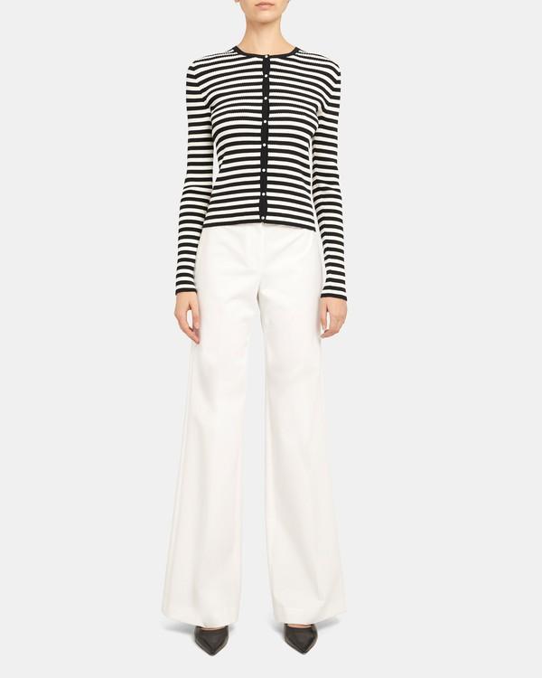 띠어리 Theory Ribbed Cardigan in Striped Stretch Cotton,DEEP NAVY/IVORY