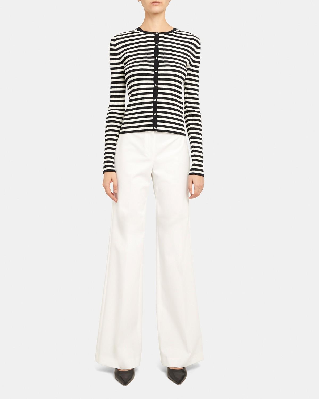 띠어리 골지 가디건, 스트라이프 Theory Ribbed Cardigan in Striped Stretch Cotton,DEEP NAVY/IVORY