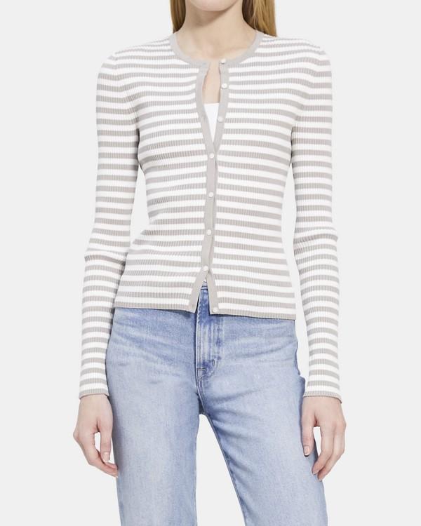 띠어리 Theory Ribbed Cardigan in Striped Stretch Cotton,MEDIUM GREY/IVORY