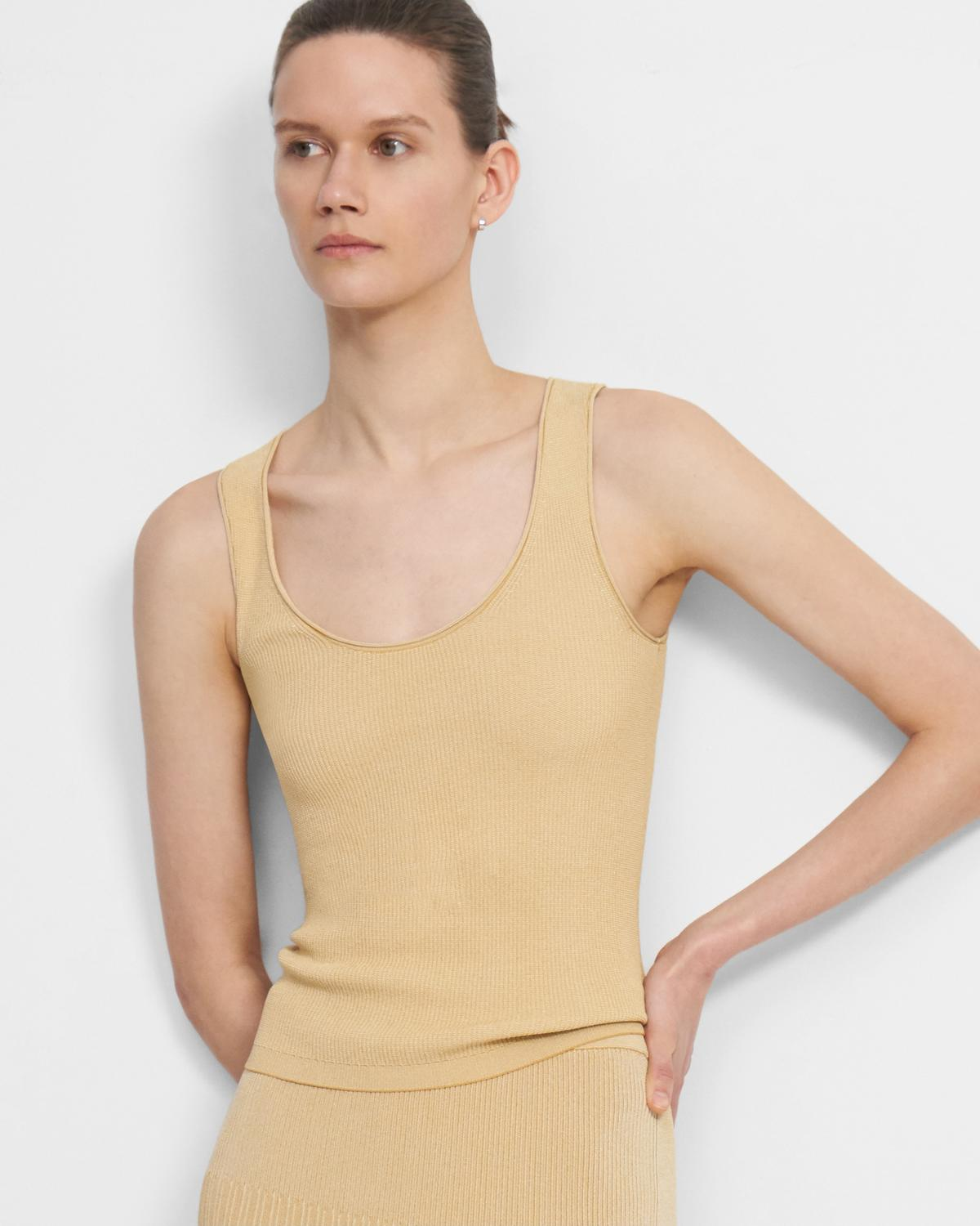 Ribbed Tank Top in Pebbled Viscose