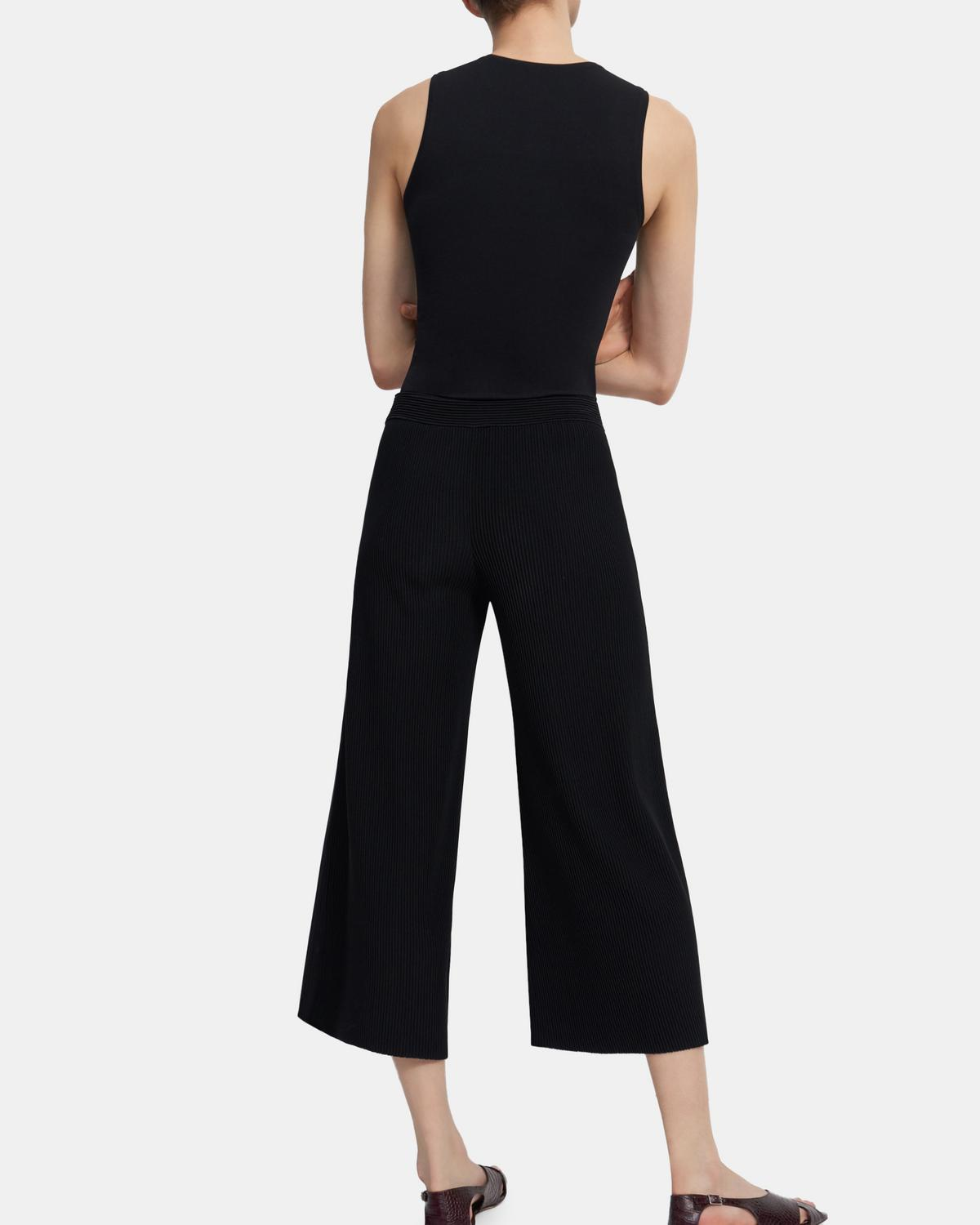 Cropped Flared Pant in Ribbed Knit