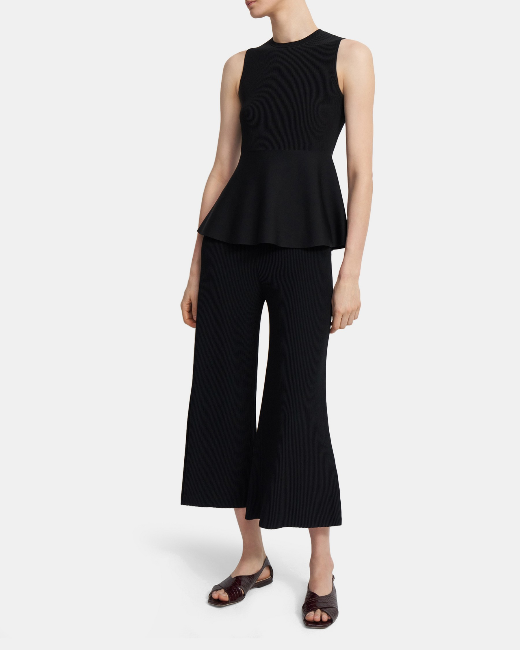 Theory Peplum Shell Top in Ribbed Knit