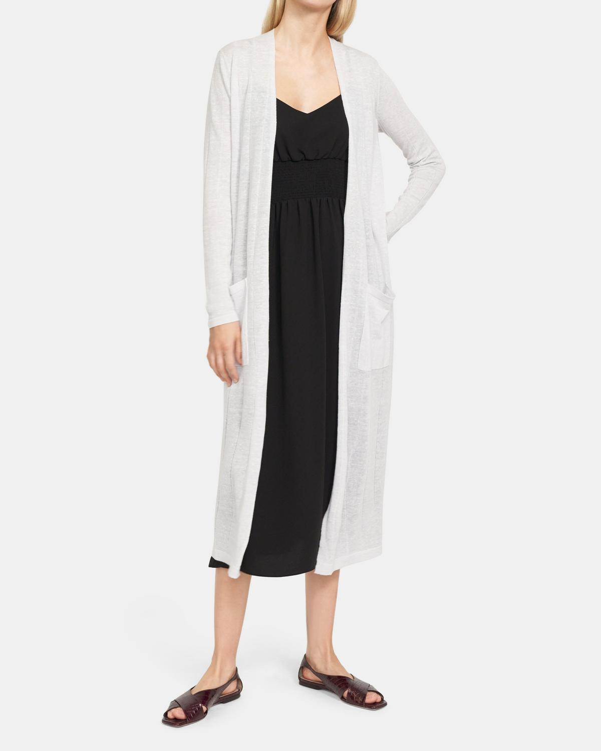 Long Cardigan In Wool-Viscose
