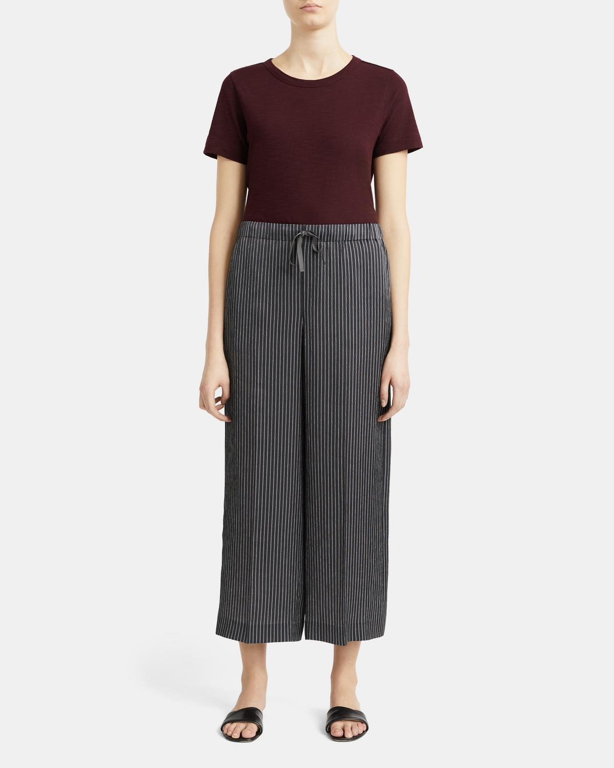 Drawstring Wide-Leg Pant in Double Stripe Silk 0 - click to view larger image