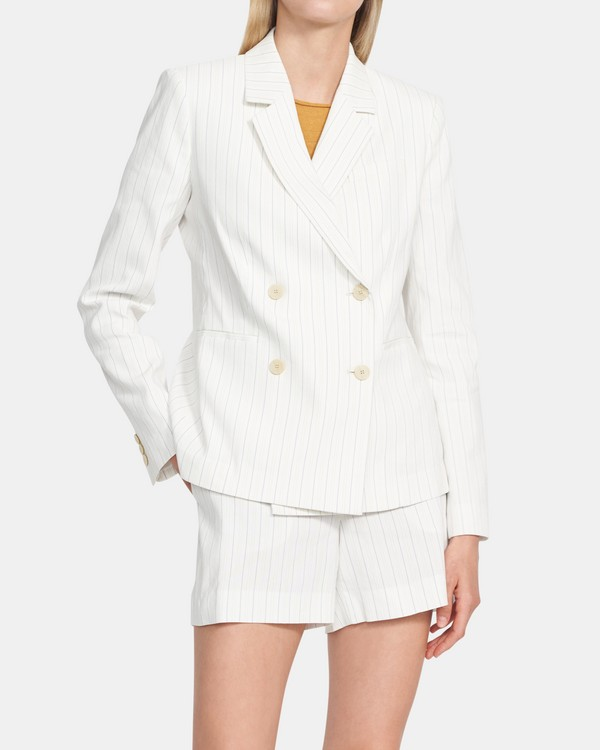 Striped Linen Double-Breasted Blazer