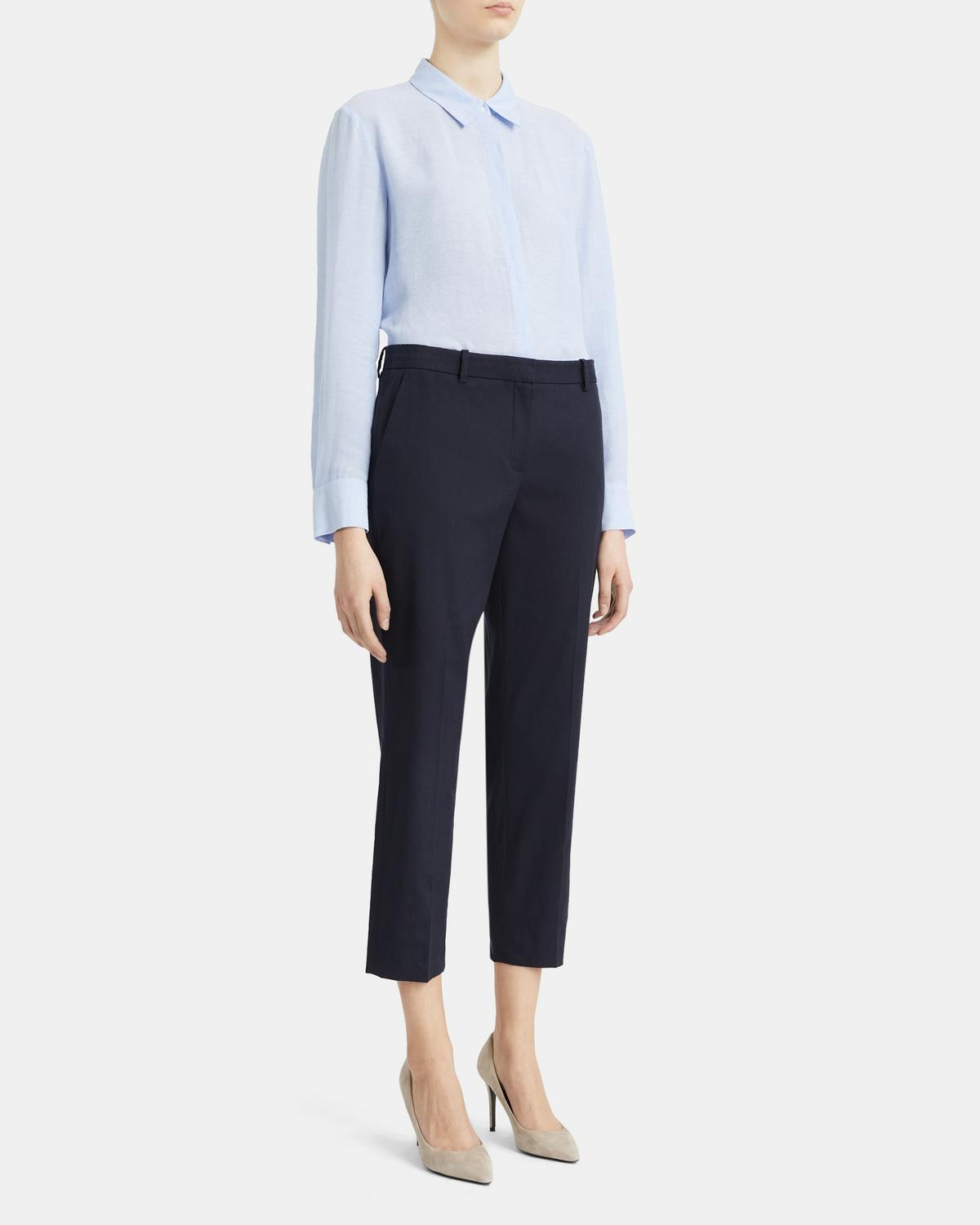 Slim Cropped Pant in Crunch Linen