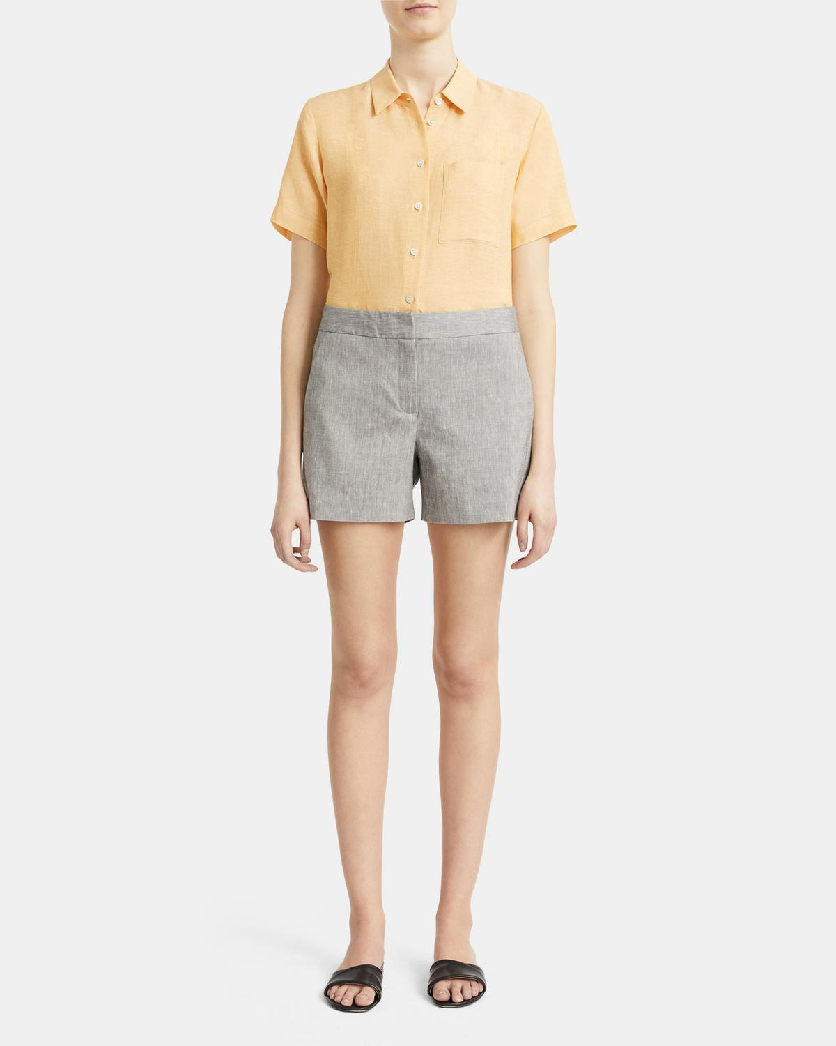 Tailored Short in Mélange Crunch Linen