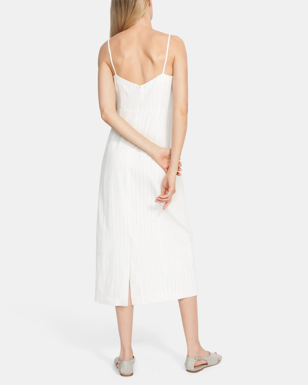 Clean Strap Dress In Striped Linen