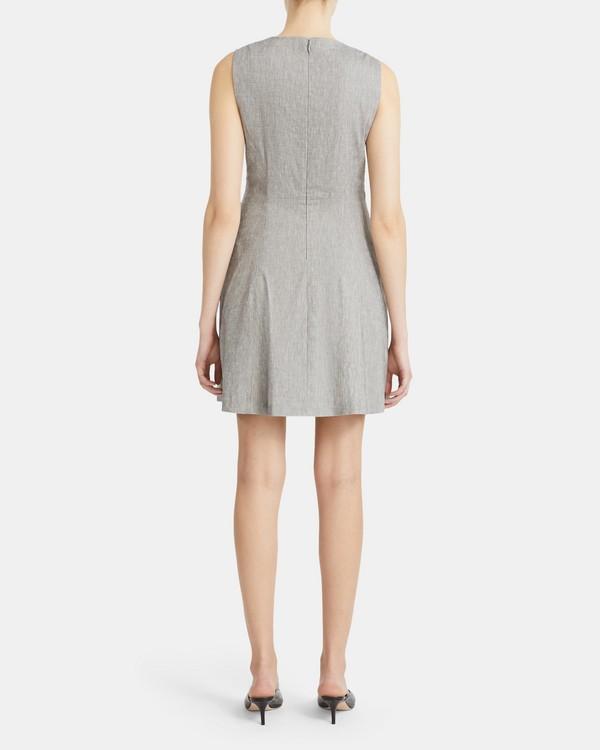 띠어리 알비타 '린넨' 플레어 원피스Theory Albita Flare Dress in Melange Stretch Linen,GREY/WHITE